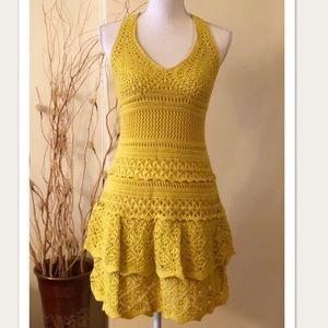 Moda Int. Yellow Halter Crochet Cotton Dress Small